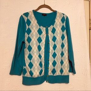 Talbots argyle cardigan  sweater size large